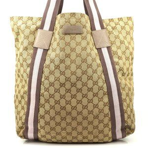 Auth Gucci Gg Sherry Tote Bag Brown #6761G12